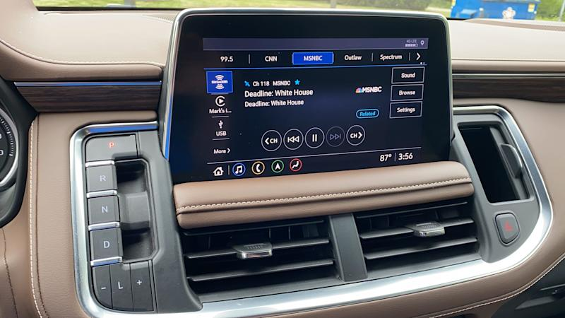 Buttons and toggles on the dashboard select gears in the 2021 Chevrolet Tahoe's transmission.