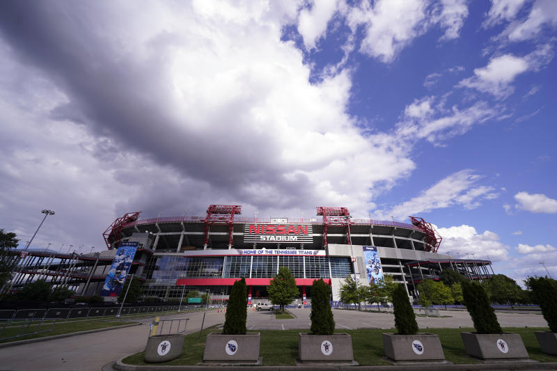Nissan Stadium, home of the Tennessee Titans, is shown Tuesday with clouds hovering in the sky.