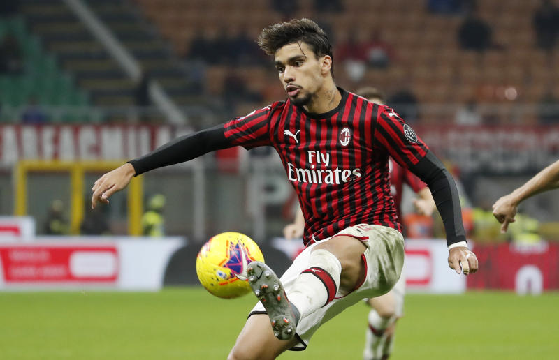 AC Milan's Lucas Paqueta controls the ball during the Serie A soccer match between AC Milan and Lazio at the San Siro stadium, in Milan, Italy, Sunday, Nov. 3, 2019. (AP Photo/Antonio Calanni)