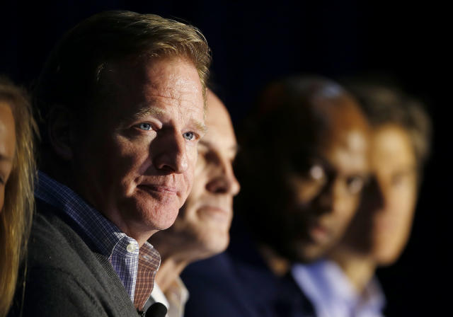 NFL Commissioner Roger Goodell listens to audience questions during a safety clinic hosted by the NFL and the Chicago Bears for the mothers of youth football players on Tuesday, Oct. 29, 2013, at Halas Hall in Lake Forest, Ill. (AP Photo/Andrew A. Nelles)