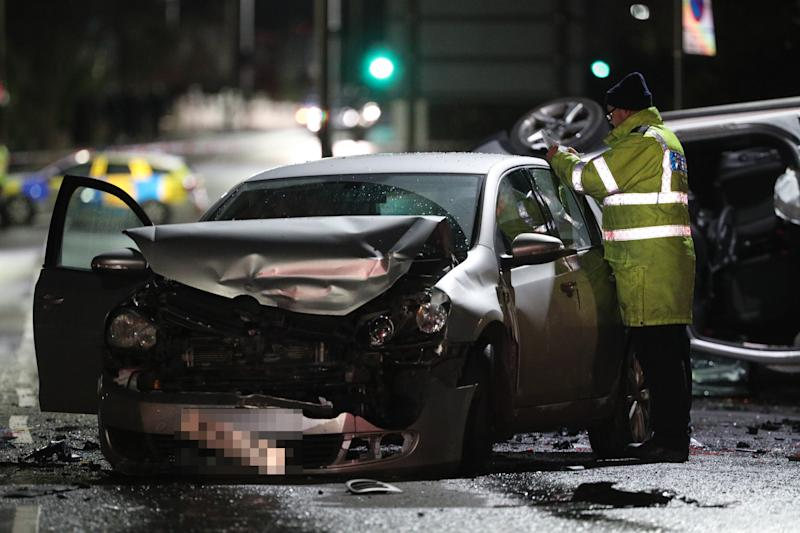 Images show the cars left damaged by the crash, which involved eight vehicles. (Picture: PA)