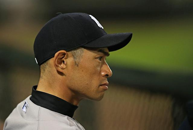 CHICAGO, IL - AUGUST 05: Ichiro Suzuki #31 of the New York Yankees watches from the dugout as his team takes on the Chicago White Sox at U.S. Cellular Field on August 5, 2013 in Chicago, Illinois. (Photo by Jonathan Daniel/Getty Images)