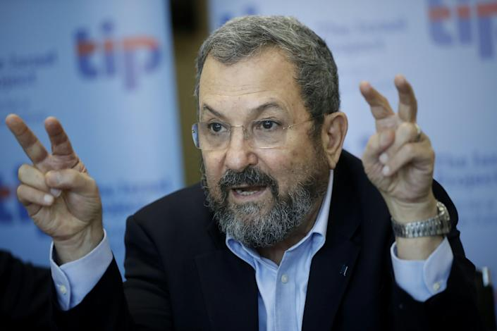Former Israeli Prime Minister Ehud Barak gestures as he talks with foreign journalists in Jerusalem on April 4, 2016. (Photo: Thomas Coex/AFP/Getty Images)