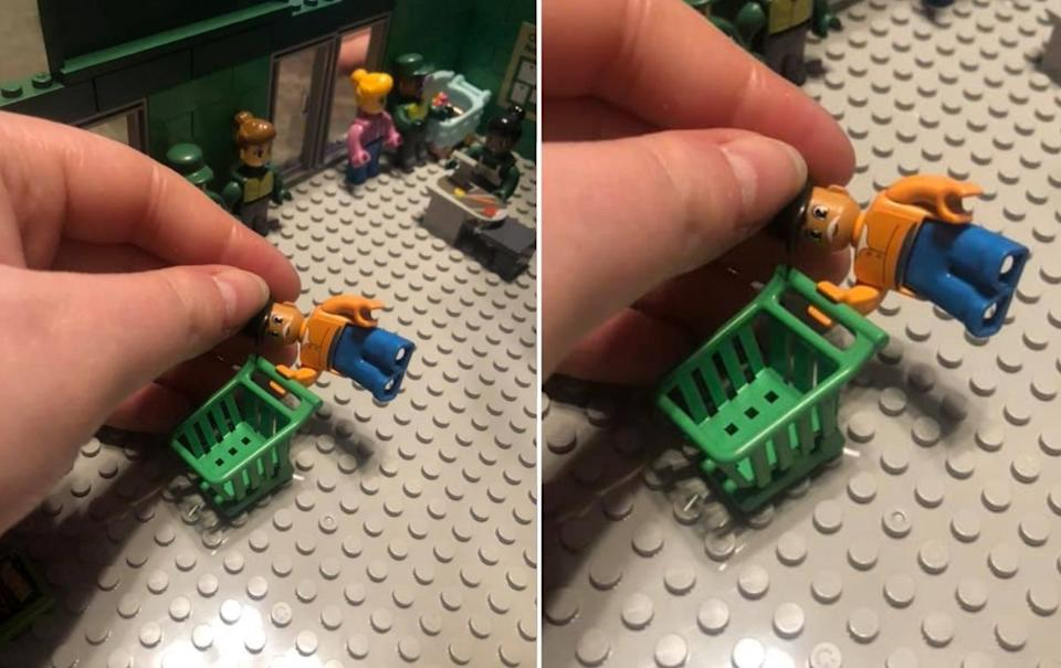 Woolworths Brick person shown with a trolley. Source: Facebook