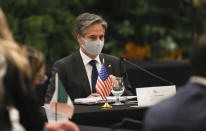 U.S. Secretary of State Antony Blinken attends a meeting with the foreign ministers of Mexico and Central American Integration System (SICA) member states at Intercontinental Hotel Costa Rica on Tuesday, June 1, 2021, in San Jose, Costa Rica. (Evelyn Hockstein/Pool via AP)