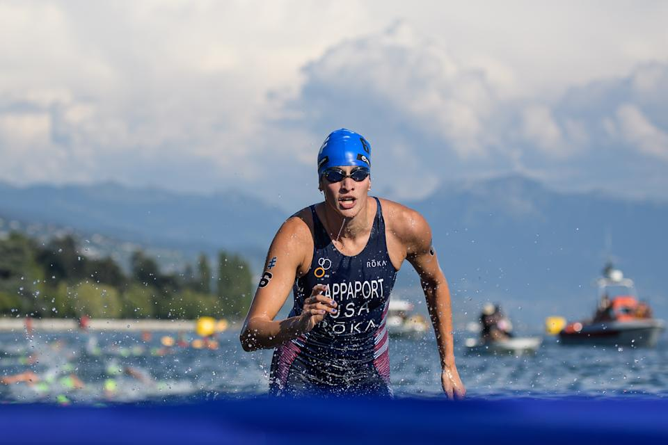 LAUSANNE, SWITZERLAND - AUGUST 31: Summer Rappaport of the United States at the swim exit during the women's elite olympic race at the ITU World Triathlon Grand Final on August 31, 2019 in Lausanne, Switzerland. (Photo by Jörg Schüler/Getty Images)