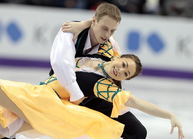 Allison Reed and Vasili Rogov compete for Israel during the Ice Dance Short Program at the 2013 World Figure Skating Championships March 14, 2013 in London, Ontario, Canada. AFP PHOTO/Geoff RobinsGEOFF ROBINS/AFP/Getty Images