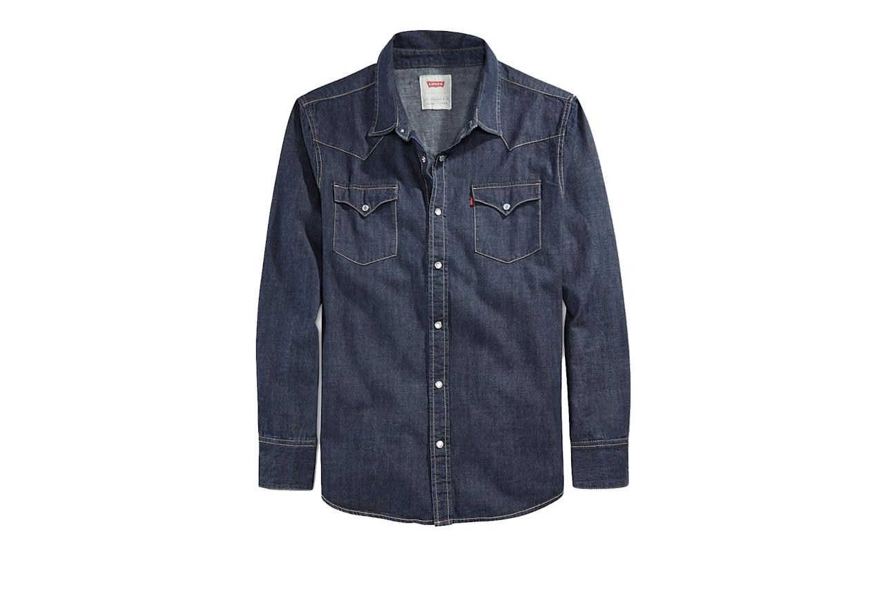 """<p>A Levi's denim shirt is going to last just as long and work with just as many pieces in your closet as your go-to white Oxford, only the more destroyed it gets, the cooler it's going to look.</p> <p><em>Levi's """"Barstow"""" Western shirt</em></p> $70, Amazon. <a href=""""https://www.amazon.com/Levis-Barstow-Western-Shirt-X-Large/dp/B076CBZVHP/ref=mp_s_a_1_7?dchild=1&keywords=barstow%2Bwestern%2Bshirt&qid=1576620443&sprefix=barstow&sr=8-7&th=1&psc=1"""">Get it now!</a>"""