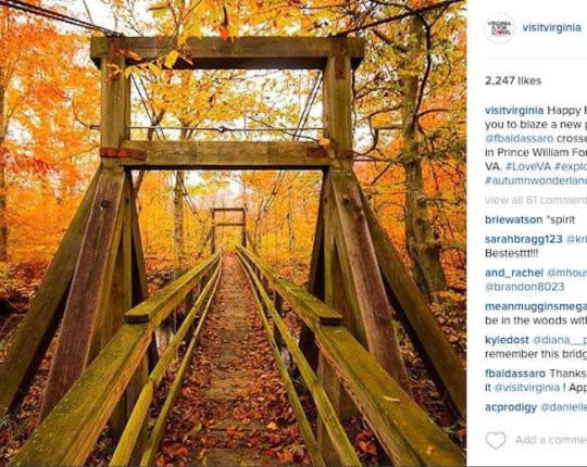 """<p>Since I live in Virginia, I must give a shout out to Visit Virginia. Not only are their Instagram photos inspiring and amazing, but they often re-post shots from other people. That gives me more people to follow and more Virginia eye candy to behold. <i>(Photo: <a href=""""https://www.instagram.com/visitvirginia/"""">@visitvirginia</a>)</i><b><br /></b></p>"""