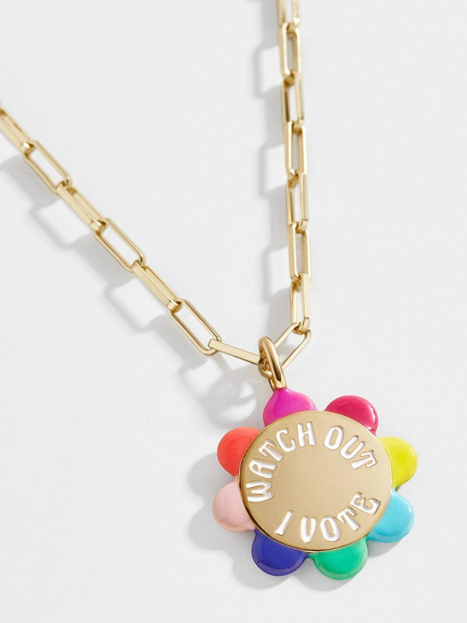 """<p><strong>Baublebar</strong></p><p>baublebar.com</p><p><strong>$42.00</strong></p><p><a href=""""https://go.redirectingat.com?id=74968X1596630&url=https%3A%2F%2Fwww.baublebar.com%2Fproduct%2F53200-i-vote-necklace&sref=https%3A%2F%2Fwww.marieclaire.com%2Ffashion%2Fg33585252%2Fvoter-merchandise%2F"""" rel=""""nofollow noopener"""" target=""""_blank"""" data-ylk=""""slk:SHOP IT"""" class=""""link rapid-noclick-resp"""">SHOP IT</a></p><p>Ten percent of all proceeds from this fun """"Watch Out I Vote"""" necklace will be donated to I am a voter. </p>"""