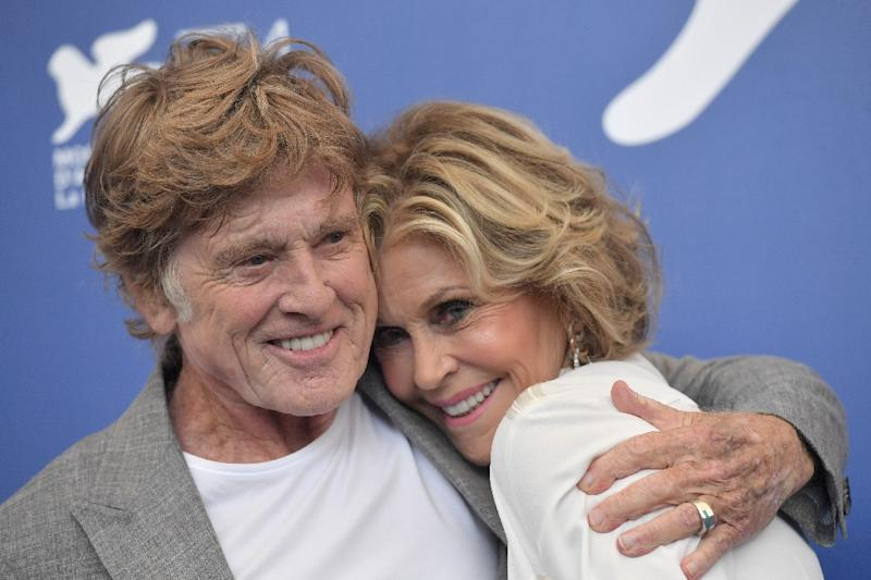 US actors Jane Fonda and Robert Redford attend a photocall during the 74th Venice Film Festival on September 1, 2017 at Venice Lido