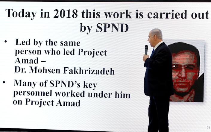 Benjamin Netanyahu named Mohsen Fakhrizadeh during a news conference in 2018 - AMIR COHEN /REUTERS
