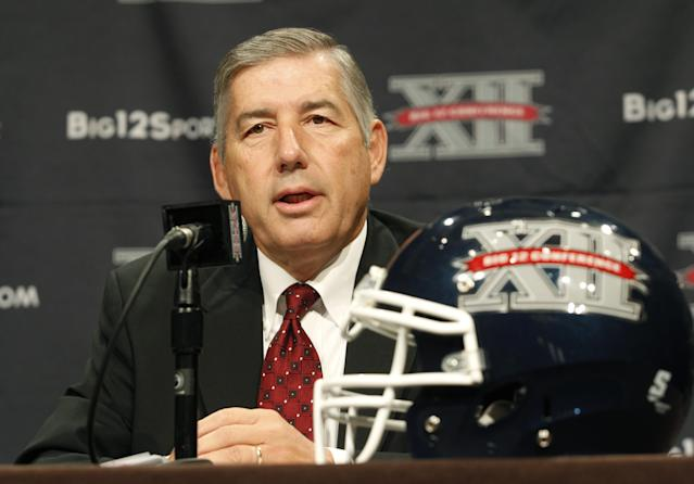 FILE - In this July 22, 2013, file photo, Big 12 Conference Commissioner Bob Bowlsby addresses the media at the beginning of the Big 12 Conference Football Media Days in Dallas. Bowlsby has become the de facto president of the NCAA's power conferences. Could he be the next NCAA president? (AP Photo/Tim Sharp, File)