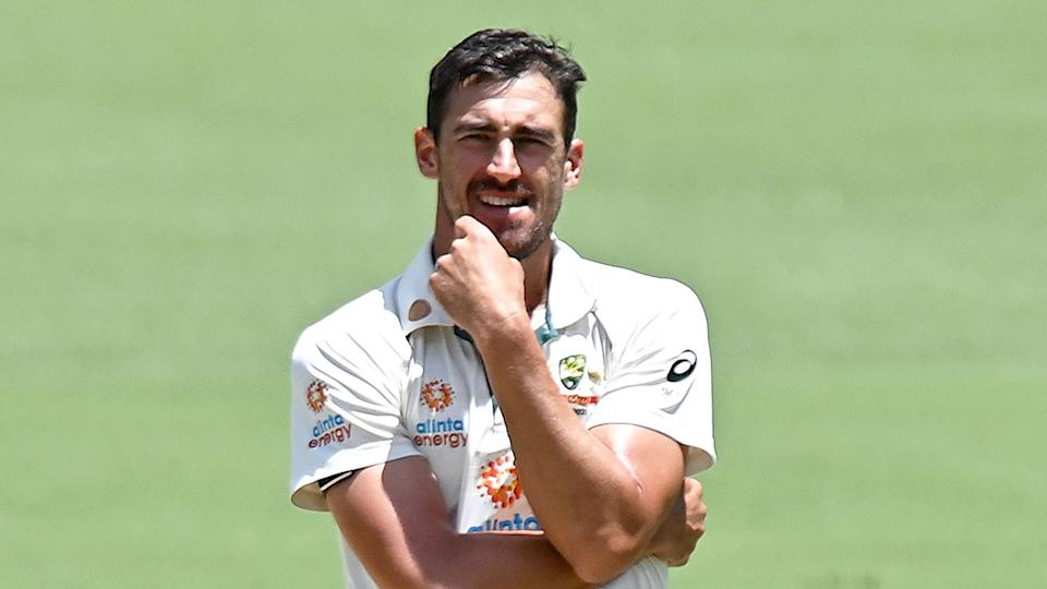 Seen here, Mitchell Starc looks frustrated during the fourth Test against India at the Gabba.