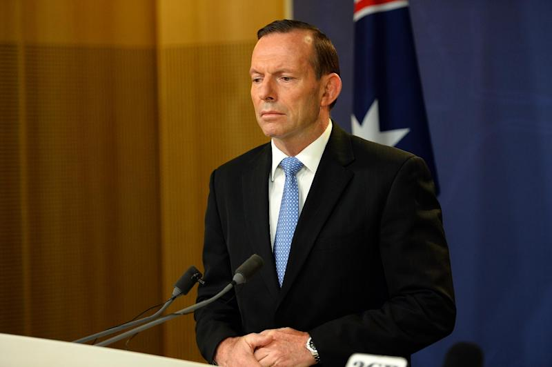 Australian Prime Minister Tony Abbott speaks at a press conference in Sydney, on July 19, 2014 (AFP Photo/Saeed Khan)