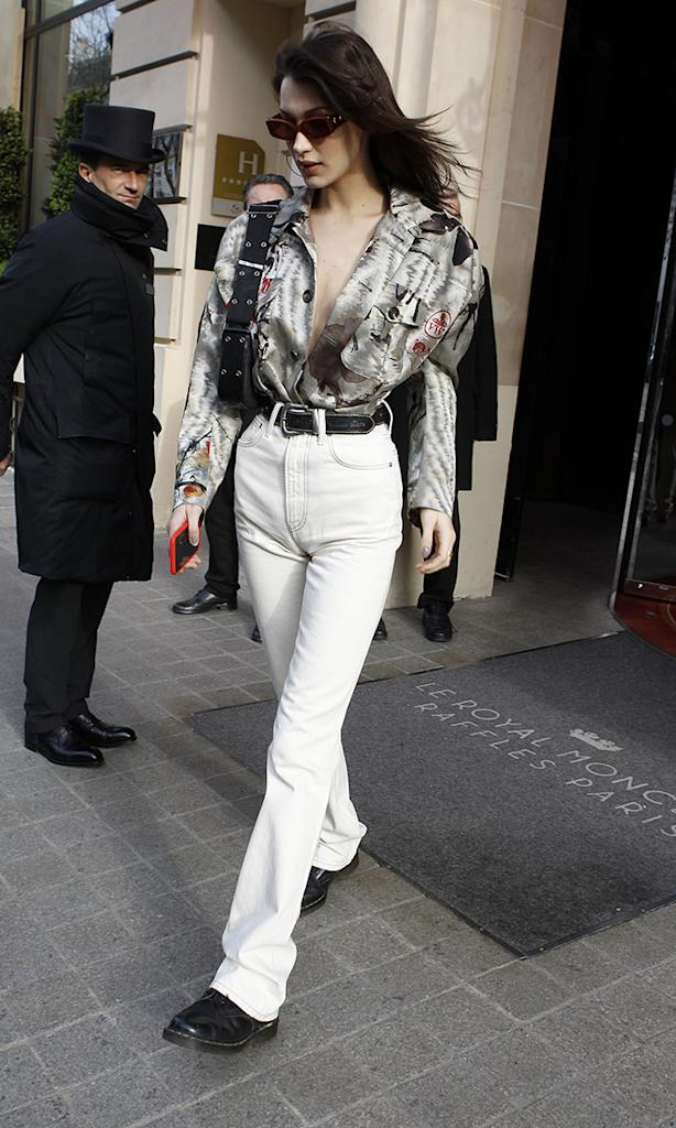 Bella Hadid, vivienne westwood, white flared pants, dr. martens, boots, Bella Hadid out and about, Paris, France - 23 Mar 2019