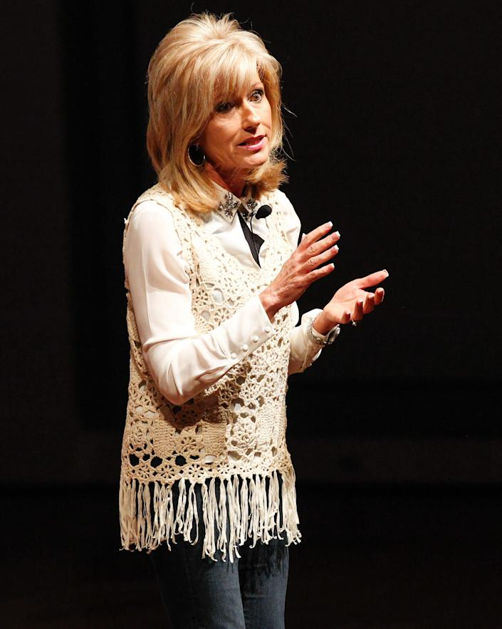 Evangelist and author Beth Moore speaks at a luncheon for nominees of the Dove Awards, a Christian music industry honor,on Oct. 6, 2014, in Nashville. (Photo: Terry Wyatt via Getty Images)