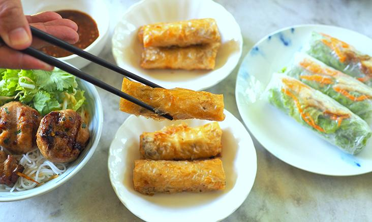 Crunch on these Hanoi-style spring rolls or 'nem' filled with either chicken or mushrooms