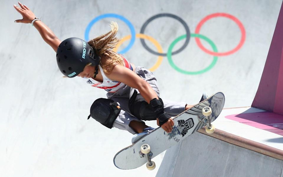 Tokyo 2020 Olympics - Skateboarding - Women's Park - Preliminary Round - Ariake Urban Sports Park - Tokyo, Japan - August 4, 2021. Sky Brown of Britain in action - REUTERS