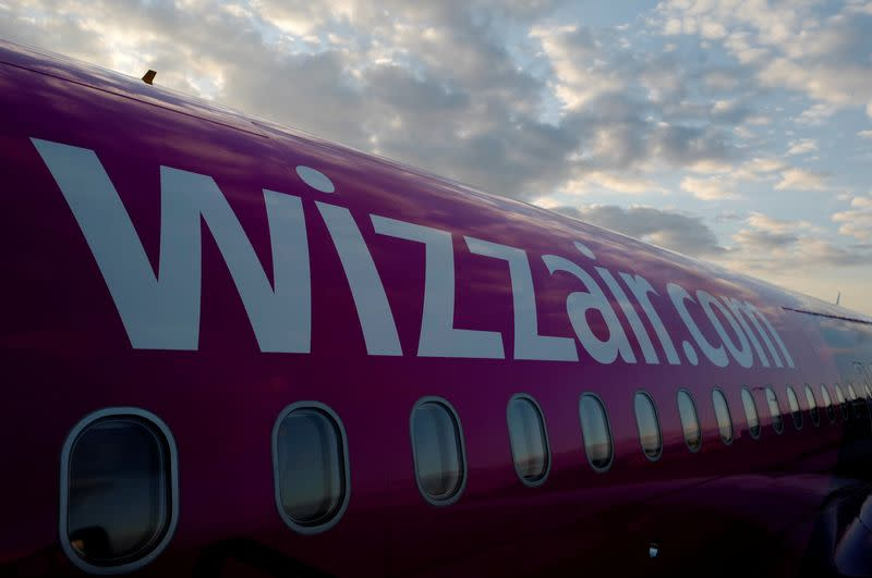 FILE PHOTO: Wizz Air Airbus aircraft is pictured at Luton Airport