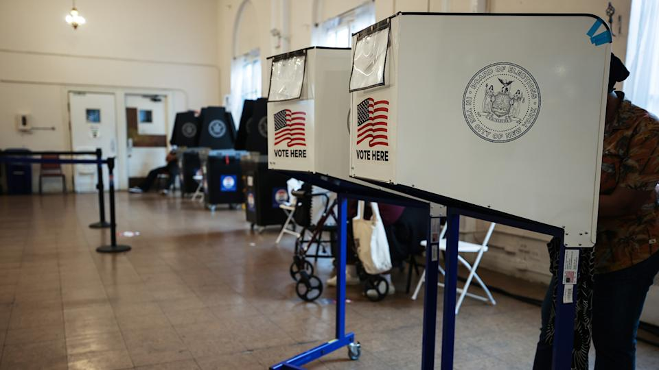 A polling site is seen as early voting in New York City's mayoral primary election has started as of Saturday which voters can choose up to five candidates in New York City, United States on June 13, 2021. (Tayfun Coskun/Anadolu Agency via Getty Images)