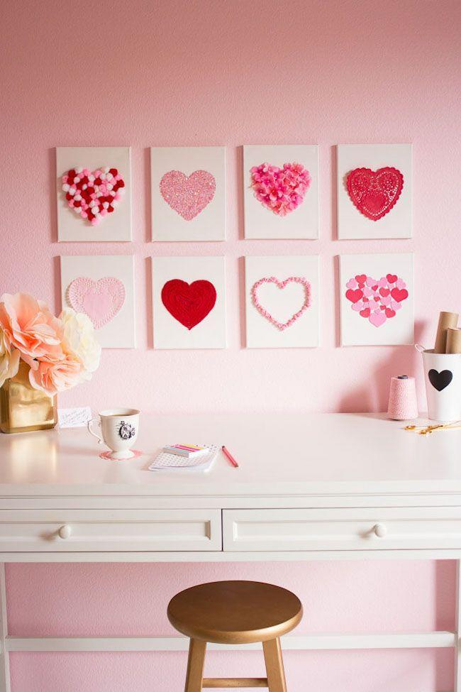 "<p>Buy a set of small canvases at the craft store to create Valentine's Day decorations that you'll never want to take down. Use heart doilies, foam heart stickers, heart confetti and other cheerful details for an eye-catching gallery wall.</p><p><em><a href=""https://designimprovised.com/2015/01/heart-art.html"" rel=""nofollow noopener"" target=""_blank"" data-ylk=""slk:Get the how-to at Design Improvised»"" class=""link rapid-noclick-resp"">Get the how-to at Design Improvised»</a></em><br></p><p><strong>RELATED</strong>: <a href=""https://www.goodhousekeeping.com/holidays/valentines-day-ideas/g30174656/valentines-day-decor-ideas/"" rel=""nofollow noopener"" target=""_blank"" data-ylk=""slk:22 Valentine's Day Decorating Ideas That Deserve All the Xs and Os"" class=""link rapid-noclick-resp"">22 Valentine's Day Decorating Ideas That Deserve All the Xs and Os</a><br></p>"