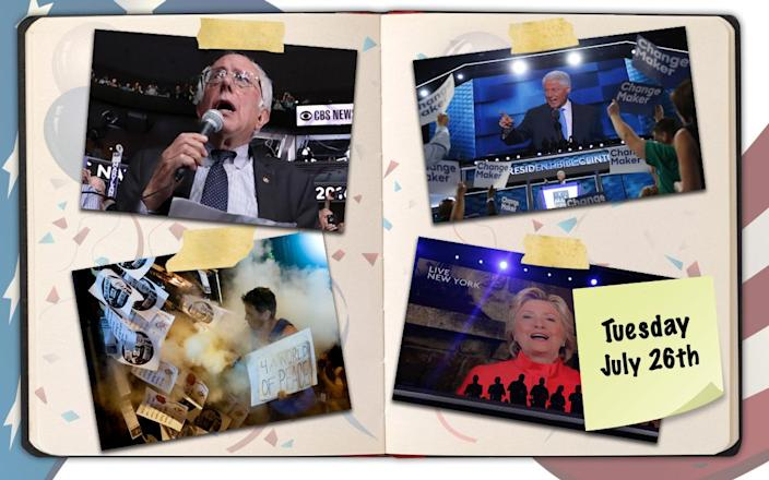 Bernie Sanders graciously caps off the roll call, Bill Clinton brings down the house, protests continue, and Hillary Clinton makes a surprise appearance at the Democratic National Convention in Philadelphia. (Photo illustration: Yahoo News, photos, clockwise from top right: Chip Somodevilla/Getty Images, Mark Kauzlarich/Reuters, John Minchillo/AP, Jim Young/Reuters, background photos: Getty Images [3])