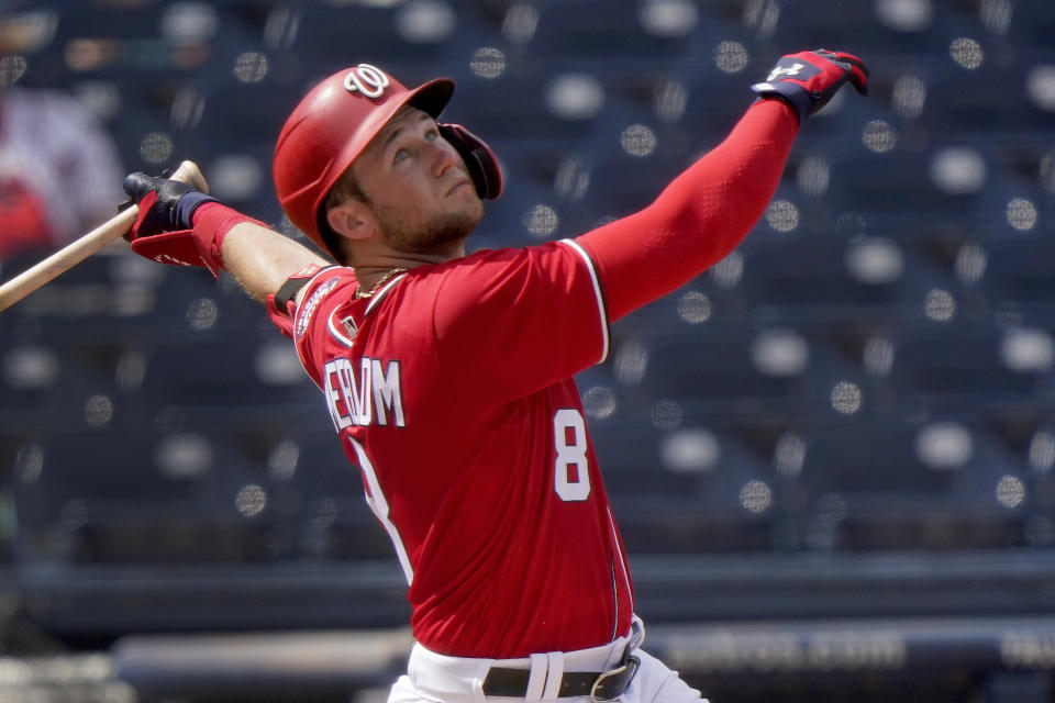 Washington Nationals' Carter Kieboom watches a foul ball during the second inning of a spring training baseball game against the Houston Astros Monday, March 1, 2021, in West Palm Beach, Fla. (AP Photo/Jeff Roberson)