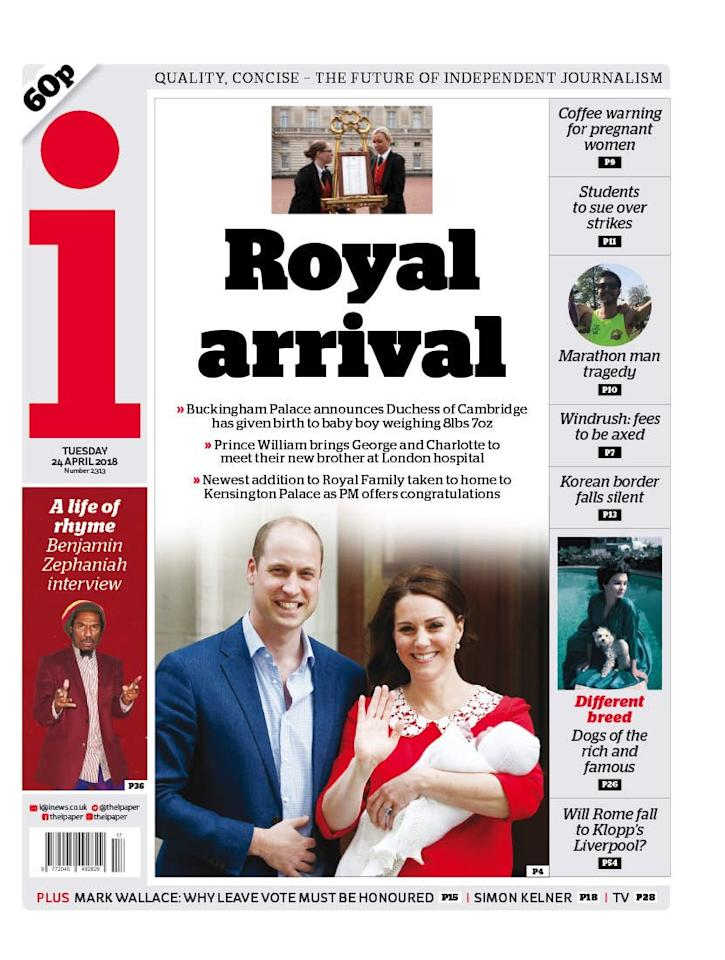 <p>'Royal arrival' was i's headline to cover the latest royal birth. It was the only British paper to also include an image of the Royal bulletin. (i) </p>