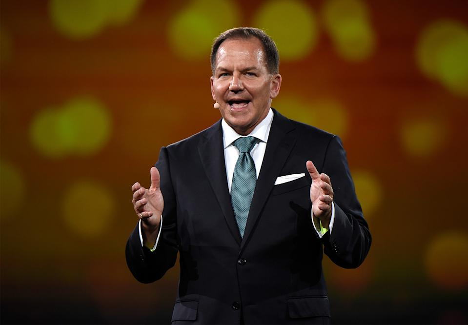 NEW YORK, NY - MAY 14:  Founder of The Robin Hood Foundation, Paul Tudor Jones speaks on stage during The Robin Hood Foundation's 2018 benefit at Jacob Javitz Center on May 14, 2018 in New York City.  (Photo by Kevin Mazur/Getty Images for Robin Hood)