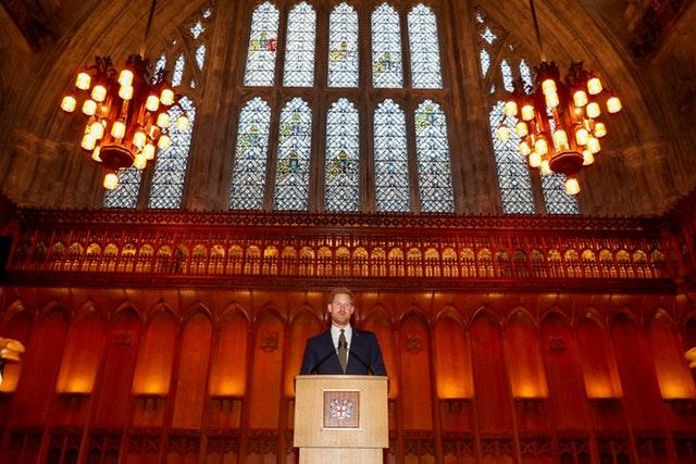 The Duke of Sussex speaks during a reception to celebrate the fifth anniversary of the Invictus Games at the Guildhall in central London