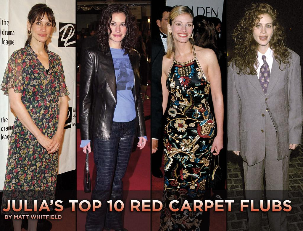 """She may have looked halfway decent in a Stella McCartney blazer, Diane von Furstenberg shorts, and Roger Vivier heels at the NY premiere of <a href=""""http://movies.yahoo.com/movie/1810105588/info"""">Eat Pray Love</a>, but Julia Roberts rarely rocks the red carpet. Before you check out her new flick, check out ten of her worst fashion flubs."""