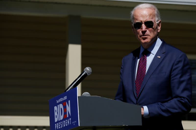Democratic U.S. presidential candidate and former U.S. Vice President Joe Biden makes a statement about healthcare outside St. James-Santee Family Health Center in McClellanville