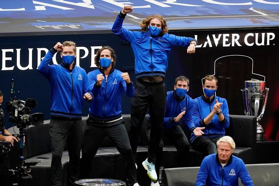 Stefanos Tsitsipas leads the cheers as Casper Ruud gives Team Europe an early lead at the Laver Cup (Elise Amendola/AP) (AP)