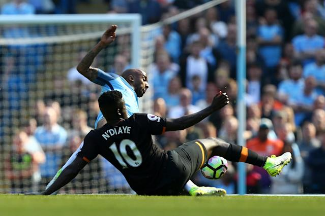<p>City's Fabian Delph is denied by Alfred N'Diaye</p>
