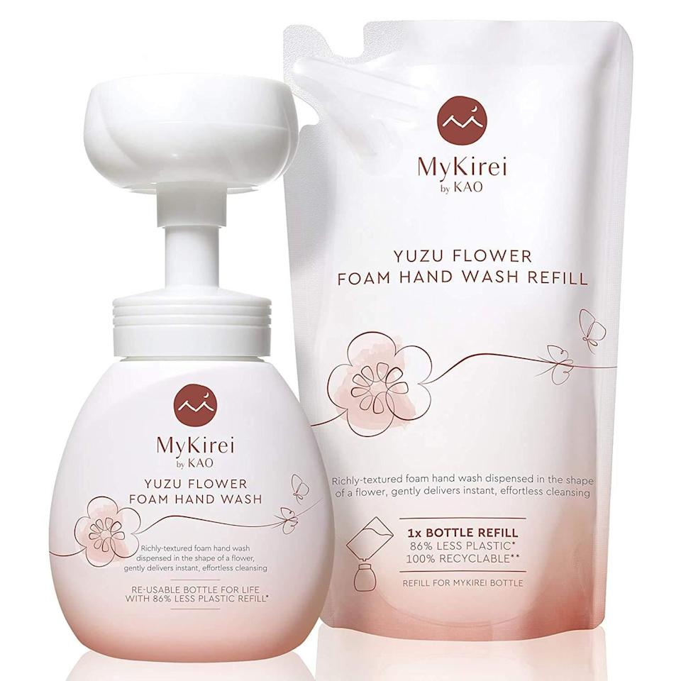 """MyKirei by Kao made the mundane (but crucial) task of <a href=""""https://www.allure.com/story/hand-sanitizer-vs-washing-soap-water?mbid=synd_yahoo_rss"""" rel=""""nofollow noopener"""" target=""""_blank"""" data-ylk=""""slk:handwashing"""" class=""""link rapid-noclick-resp"""">handwashing</a> more fun when it introduced a foaming hand soap that pumped out in the shape of a petal. The brand's latest iteration of the cleanser is this Paw Print Foam Hand Wash Soap Duo. The puff comes out in the form of a puppy paw. What's even better is that the soap contains moisturizing rice ferment to <a href=""""https://www.allure.com/story/hand-washing-eczema-rash-coronavirus?mbid=synd_yahoo_rss"""" rel=""""nofollow noopener"""" target=""""_blank"""" data-ylk=""""slk:keep hands from drying out"""" class=""""link rapid-noclick-resp"""">keep hands from drying out</a> as you wash away germs. Gift a bottle, plus, a refill pack to your pet-loving friends, or anyone who might enjoy a cute hand washing experience."""