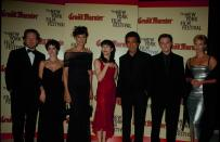 UNITED STATES - 25th September 1998: Cast of Woody Allen's film 'Celebrity': (L-R) Kenneth Branagh, Winona Ryder, Famke Janssen, Bebe Neuwirth, Joe Mantegna, Leonardo DiCaprio, and Charlize Theron at opening night of New York Film Festival. (Photo by The LIFE Picture Collection via Getty Images)