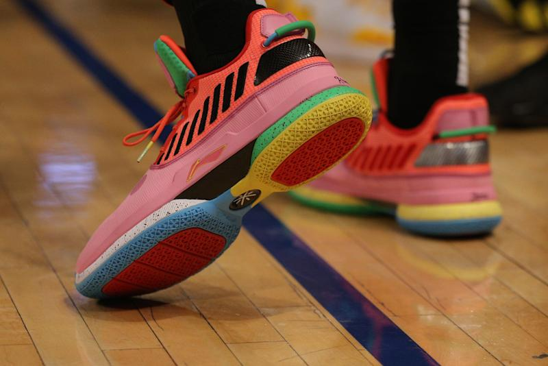 Jan 27, 2019; New York, NY, USA; Sneakers of Miami Heat guard Dwayne Wade (3) during the first quarter against the New York Knicks at Madison Square Garden. Mandatory Credit: Brad Penner-USA TODAY Sports