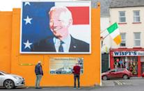 A giant painting of US President-elect Joe Biden is seen in his ancestral home of Ballina in northwest Ireland in October 2020