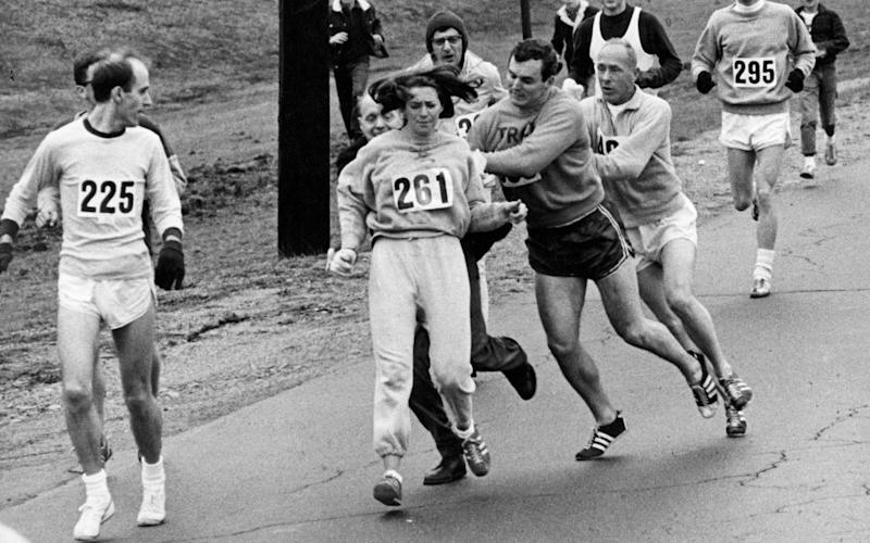 Women's rights campaigner Kathrine Switzer was attacked by an official who tried to remove her from the Boston Marathon in 1967 - Boston Globe