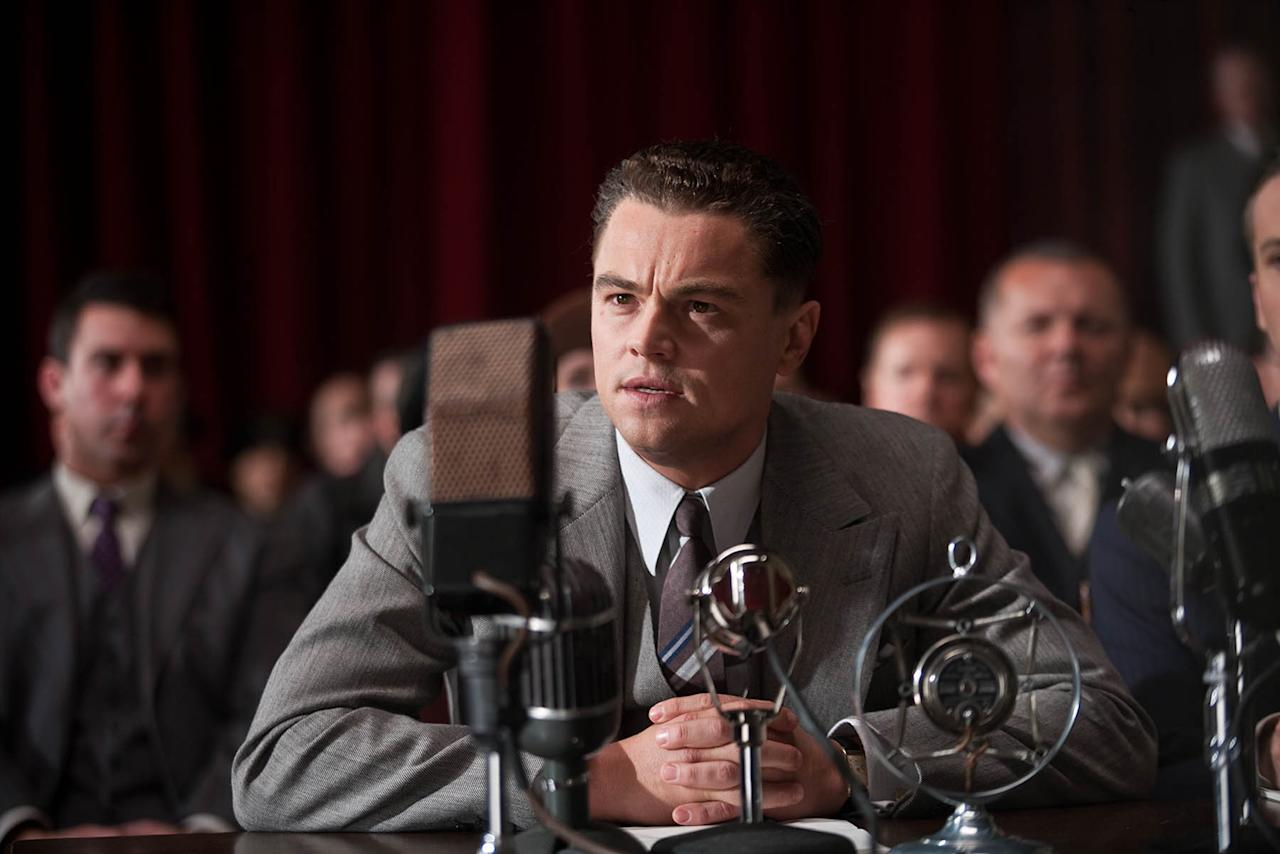 "In this image released by Warner Bros., Leonardo DiCaprio is shown in a scene from the upcoming film, ""J. Edgar."" DiCaprio was nominated Thursday, Dec. 15, 2011 for best actor in a drama for his role in ""J. Edgar."" The Golden Globes will be presented Jan. 15 at the Beverly Hilton Hotel, televised live by NBC and hosted by Ricky Gervais. (AP Photo/Warner Bros. Keith Bernstein)"