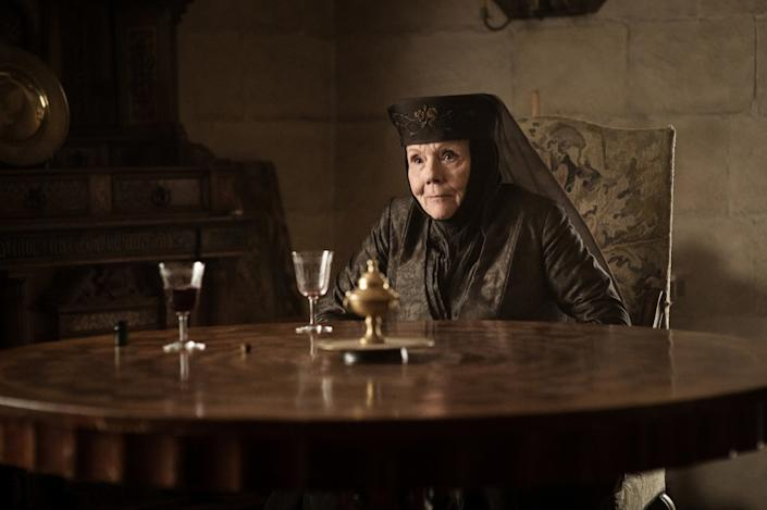 "Diana Rigg as Olenna Tyrell in the ""Game of Thrones"" episode ""The Queen's Justice."" <span class=""copyright"">(Helen Sloan / HBO )</span>"