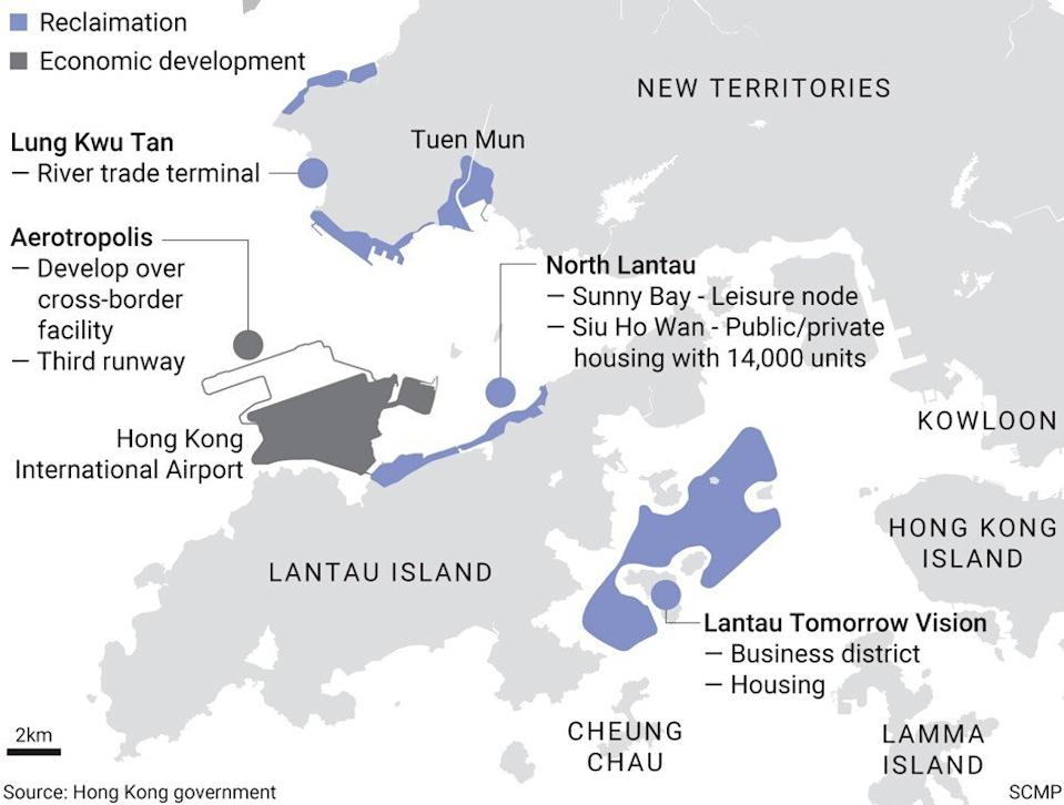 The various reclamation and economic development projects proposed by the Hong Kong government. SCMP Graphics