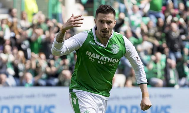 Jamie Maclaren celebrates scoring for Hibernian against Rangers last month.
