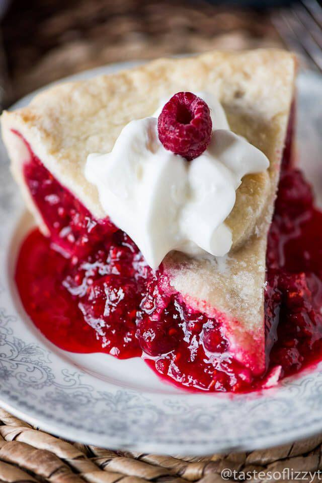"<p>It goes best with whipped cream on top.</p><p>Get the recipe from <a rel=""nofollow"" href=""https://www.tastesoflizzyt.com/baked-red-raspberry-pie-recipe/"">Tastes of Lizzy T</a>.</p>"