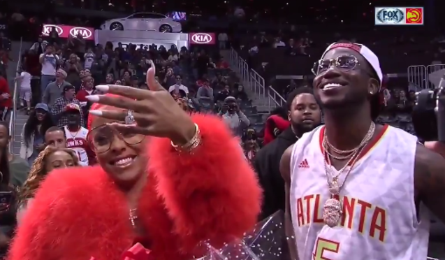 364a017f2a6 Watch Gucci Mane Propose to His Girlfriend Keyshia Ka oir at Hawks-Pelicans  Game