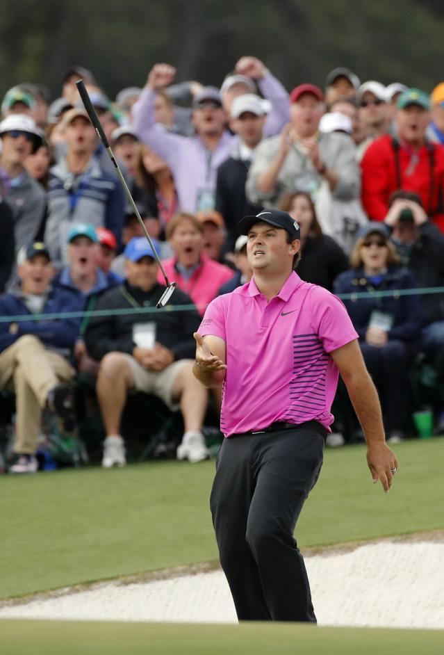 Patrick Reed of the U.S. reacts to missing a birdie putt on the 17th hole during final round play of the 2018 Masters golf tournament at the Augusta National Golf Club in Augusta, Georgia, U.S. April 8, 2018. REUTERS/Mike Segar