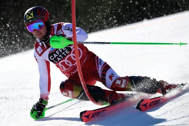 Austria's Marcel Hirscher competing in the men's slalom during the World Cup in Andprra in March (AFP Photo/JAVIER SORIANO)