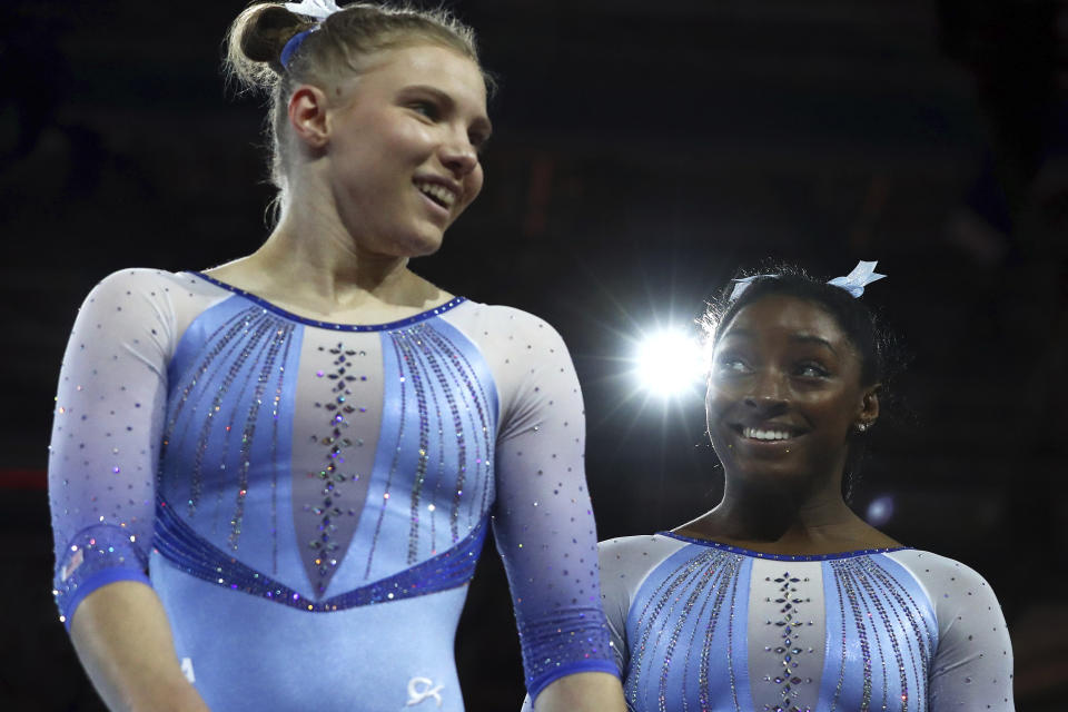 """Simone Biles leads the field and qualified for the all-around final in Germany, despite her .001 """"loss"""" to teammate Jade Carey at the world championships."""