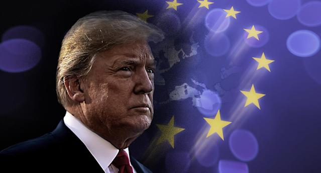 Donald Trump named the European Union as a foe to the United States. (Photo illustration: Yahoo News; photos: Al Drago/Getty Images, Getty Images)